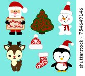christmas icons. collection.... | Shutterstock .eps vector #754649146