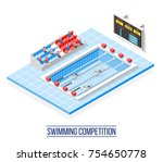 swimming competition isometric... | Shutterstock .eps vector #754650778