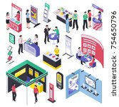 isometric expo stand trade show ... | Shutterstock .eps vector #754650796