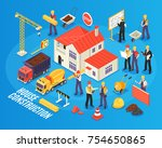 isometric building background... | Shutterstock .eps vector #754650865