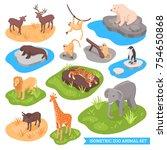 isometric zoo decorative icons... | Shutterstock .eps vector #754650868