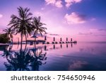 tranquil infinity swimming pool ... | Shutterstock . vector #754650946