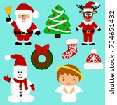 christmas icons. collection.... | Shutterstock .eps vector #754651432