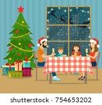 christmas room interior. pile...   Shutterstock .eps vector #754653202