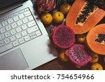 tropical fruit near modern... | Shutterstock . vector #754654966