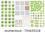 set of park elements.  top view ... | Shutterstock .eps vector #754655218