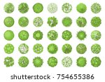 trees top view. different... | Shutterstock .eps vector #754655386