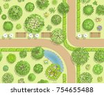 seamless pattern. park top view.... | Shutterstock .eps vector #754655488
