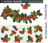 mistletoe holly branches ...   Shutterstock .eps vector #754655788