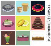 set icons in flat design cakes... | Shutterstock .eps vector #754659166