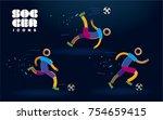 set of vector color line soccer ...   Shutterstock .eps vector #754659415