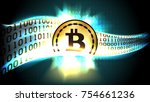golden symbol of cryptocurrency ... | Shutterstock .eps vector #754661236