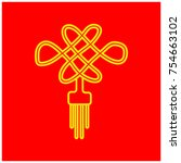 chinesse ornament icon with red ... | Shutterstock .eps vector #754663102
