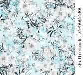 watercolor seamless pattern of... | Shutterstock . vector #754665586
