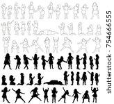set of silhouettes of children  ... | Shutterstock .eps vector #754666555