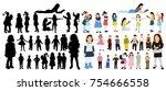 set of silhouettes of children  ... | Shutterstock .eps vector #754666558