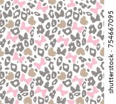 Camouflage, leopard color, bows, hearts. Seamless pattern, vector illustration.