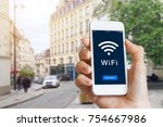 connection to public wifi... | Shutterstock . vector #754667986