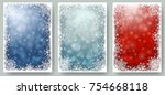set of christmas cards with...   Shutterstock .eps vector #754668118