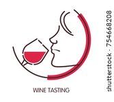 wine tasting logo with female...   Shutterstock .eps vector #754668208