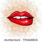 pop art colorful design biting... | Shutterstock .eps vector #754668826