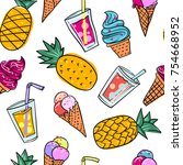 seamless summer pattern with... | Shutterstock .eps vector #754668952