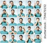 set of young man's portraits... | Shutterstock . vector #754670152
