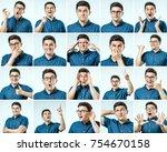 set of young man's portraits... | Shutterstock . vector #754670158