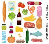 grocery set. milk  vegetables ... | Shutterstock .eps vector #754674862