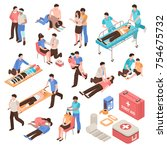 first aid isometric set with... | Shutterstock .eps vector #754675732