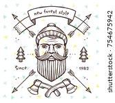 vector vintage illustration of... | Shutterstock .eps vector #754675942