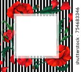 wildflower poppy flower frame...   Shutterstock . vector #754683346