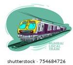 mumbai local train vector... | Shutterstock .eps vector #754684726