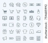 line cyber monday icons. vector ... | Shutterstock .eps vector #754685992