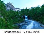 waterfall in norway | Shutterstock . vector #754686046
