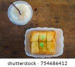 top view homemade bread butter... | Shutterstock . vector #754686412