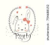 cute bunny with bow. cartoon... | Shutterstock .eps vector #754688152
