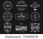 white on black sea badges vol.... | Shutterstock .eps vector #754690678
