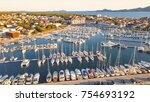 aerial view of yacht club and... | Shutterstock . vector #754693192