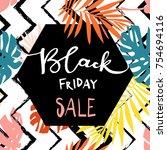 black friday sale inscription...   Shutterstock .eps vector #754694116