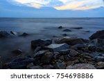 long exposure shot from wavy... | Shutterstock . vector #754698886