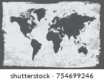 world map in vintage style... | Shutterstock .eps vector #754699246