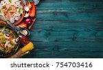 set of asian cuisine. risotto... | Shutterstock . vector #754703416