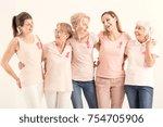 smiling women of five... | Shutterstock . vector #754705906