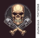 angry skull with cross bone... | Shutterstock .eps vector #754718368