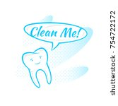 tooth says clean me vector... | Shutterstock .eps vector #754722172