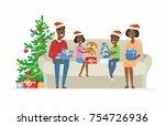 happy african family open...   Shutterstock .eps vector #754726936