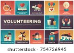 volunteering   set of flat... | Shutterstock .eps vector #754726945
