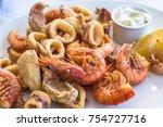 mixed deep fried fish  shrimp...   Shutterstock . vector #754727716