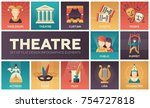 theatre   set of flat design... | Shutterstock .eps vector #754727818